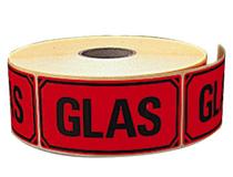 Etikett Glas 100x50mm 1000st/rulle
