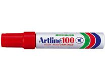 Märkpenna Artline 100 snedskuren röd 6st/fp