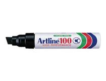 Märkpenna Artline 100 snedskuren svart 6st/fp