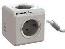Grenuttag PowerCube med sladd 4 uttag & 2 USB