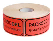 Etikett Packsedel finns 100x50mm 1000st/rulle