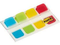 Märkflikar Post-it Index 676 Strong blå, grön, gul, röd 40st/fp