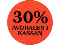 Etikett 30% avdrages i kassan 29mm 2000st/rl