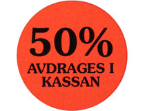 Etikett 50% avdrages i kassan 29mm 2000st/rl