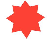 Stjärna 35cm fluorescerande röd 25st/fp