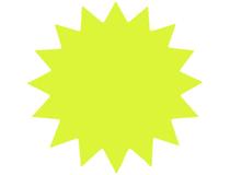Stjärna 18cm fluorescerande gul 25st/fp