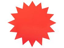 Stjärna 18cm fluorescerande röd 25st/fp