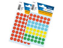 Etiketter 12mm rund blandade färger 240st/fp
