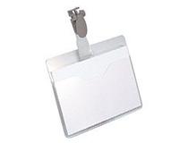 Namnskylt 93x62mm liggande med clips 25st/fp
