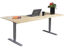 Skrivbord 2-pelarstativ höj-/sänkbart 140x80 björk/silver