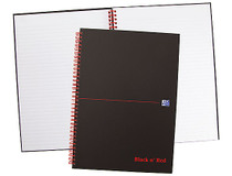 Anteckningsbok Oxford A4 dubbelspiral rutat svart/röd