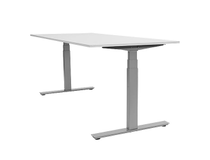 Skrivbord höger Ergofunk Smart höj-/sänkbart 2000x1200 vit/silver