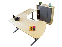 Skrivbord höger 3-pelarstativ höj-/sänkbart 200x200 björk/silver