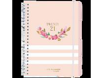 Veckokalender Life Planner rosa randig A5 2021