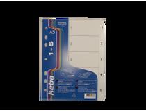 Pärmregister Keba PP A5 1-5 transparent 30st/fp