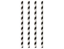 Sugrör papp svart/vit 20cm 100st/fp
