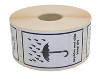 Etikett Skyddas mot väta 120x70mm 1000st/rulle
