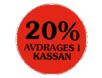 Etikett 20% avdrages i kassan 29mm 2000st/rl