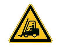 Varseldekal Varning för truckar Ø430mm