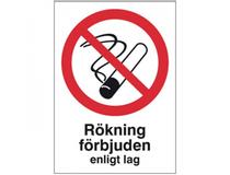 Skylt Rökning förbjuden 297x210mm aluminium