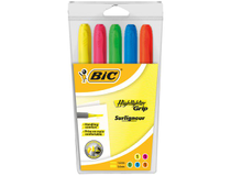 Överstrykningspenna Bic Highlighter Grip 5st/set