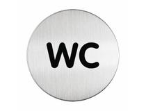 Symbolskylt WC Ø83mm silver