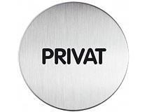Symbolskylt Privat Ø83mm silver