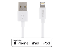 Lightning-sladd Deltaco iPhone/iPad 1m vit