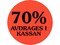 Etikett 70% avdrages i kassan 29mm 2000st/rl